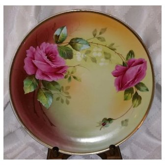 "Royal Vienna 13 3/8"" Charger Plaque signed by Artist Fauret Pink Ruby Roses"