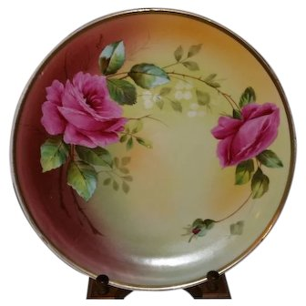 """Royal Vienna 13 3/8"""" Charger Plaque signed by Artist Fauret Pink Ruby Roses"""