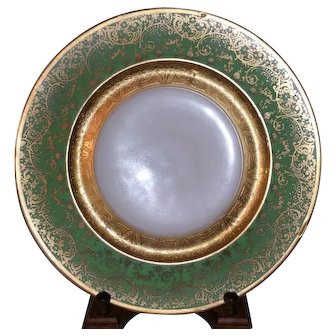 Selb Bavaria 11 inch Green Porcelain Plate with Gold Encrusted floral Cartouche design
