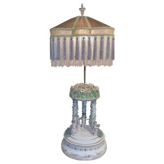 "Vintage Porcelain 36"" Lamp with Gorgeous Porcelain Dresden style flowers Putti Cherubs"