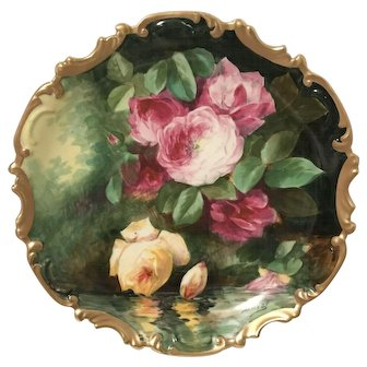Limoges Master Artist Duval Signed Large Porcelain Charger Plaque Reflecting Roses
