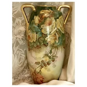 Phenomenal Austrian 15.5 inch Hand painted yellow roses Porcelain Vase Signed Mahen