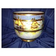 Guerin Limoges Jardiniere with Handpainted Sailboats Gold & Lustre Signed Jennings