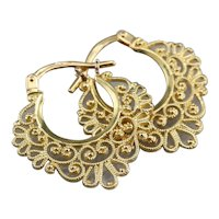 Pretty Vintage Filigree Hoop Earrings
