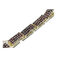 Vintage Czech Garnet Link Bracelet