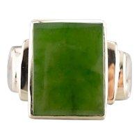 Men's Mid Century Jade Cabochon Ring