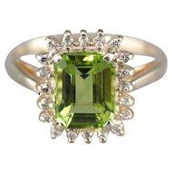 Stunning Peridot and Diamond Halo Ring