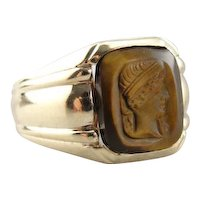Vintage Caved Roman Portrait Tigers Eye Men's Cameo Ring