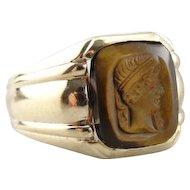 Vintage Caved Roman Portrait Tigers Eye Men's Cameo Ring