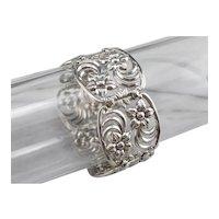 W.E. Richards 925 Sterling Silver Floral Panel Bracelet