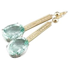 Upcycled Green Aquamarine Drop Earrings