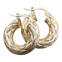 Etched Italian 14 Karat Gold Hoop Earrings