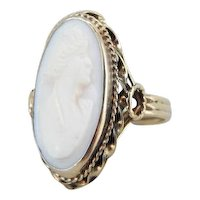 Unusual Pink Cameo Cocktail Ring