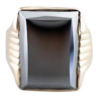 Retro Men's Hematite Statement Ring
