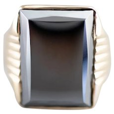 Retro Men's Hematite Statement Ring