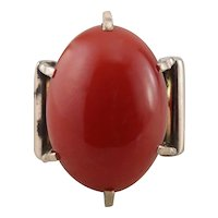 Stunning Restored Coral Ring, Coral Cabochon Cocktail Ring in Rose Gold Upcycled Mounting
