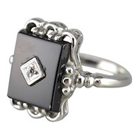 Classic Black Onyx and Diamond Retro Era Ring, Onyx Cocktail Ring