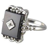 Classic Black Onyx and Diamond Retro Era Ring, Onyx Cocktail Ring