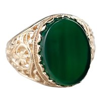 Bold Green Onyx Filigree Cocktail Ring