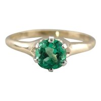 Beautiful Colombian Emerald Solitaire Engagement Ring