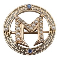 """Sapphire and Seed Pearl """"M"""" Monogrammed Circle Pin"""