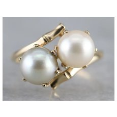 Two Color Cultured Pearl Bypass Ring