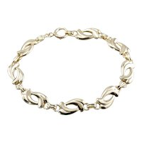 Stylized Double Heart Link Bracelet in 14 Karat Yellow Gold