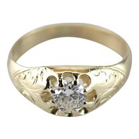 Wonderfully Detailed Art Nouveau Diamond Ring