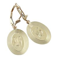 "Retrofitted 14 Karat Green Gold ""H"" Monogramed Cufflink Earrings"