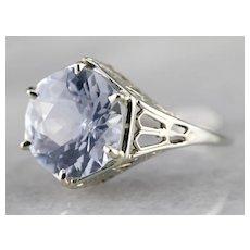 Pretty Sapphire Solitaire Filigree Ring