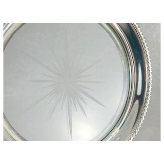 Vintage Glass Serving Dish with Etched Starburst Center