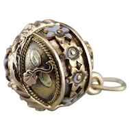 Antique Enameled Floral Ball Pendant