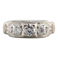 Upcycled Three Stone Diamond Deco Ring