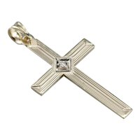 Vintage Retro Era Diamond Cross Pendant