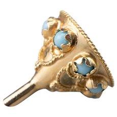 Vintage Blue Glass Filigree Funnel Charm