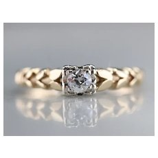 European Cut Diamond Petal Engagement Ring