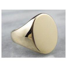 Vintage Heavy 14K Plain Signet Ring