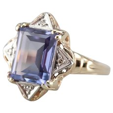 Vintage Synthetic Alexandrite and Diamond Ring