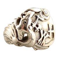"Diamond Dragon ""GWH"" Signet Ring"
