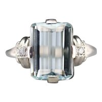 Upcycled Retro Aquamarine and Diamond Cocktail Ring