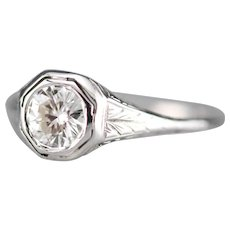 Upcycled Deco Diamond Solitaire Ring