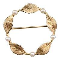 Cultured Pearl and 14 Karat Gold Leaf Circle Pin