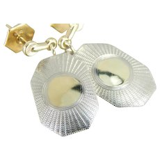Upcycled Mix Metal Cufflink Drop Earrings