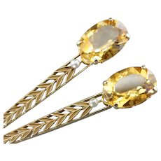 Stunning Citrine and Seed Pearl Nature Inspired Earrings, Long Citrine Drop Earrings