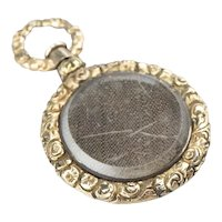 Victorian Glass Mourning Locket Pendant