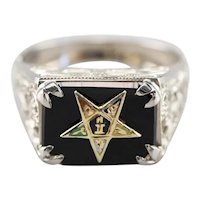 Black Onyx 1920s Enamel Eastern Star Ring