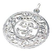 """Monogram """"F"""" Ornate Sterling Medallion Pendant"""