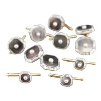 Art Deco Abalone Shell and Cultured Seed Pearl Suite Accessory Set