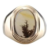 Mid Century Dendritic Agate Statement Ring