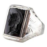 Handsome Men's Black Onyx Intaglio Ring